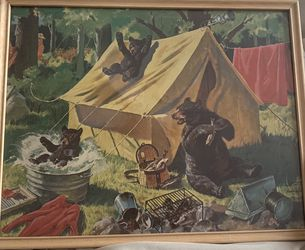Vtg. Walter M. Baumhofer Bears In Camp Lithograph Print 1940s-1950's Framed for Sale in Spanaway,  WA