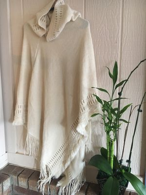 Lovely Off White Poncho with Hood for Sale in Albuquerque, NM