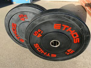 Ethos Bumper Plates Olympic Weights 45 lbs pair, 90 lbs total [PRICE FIRM] for Sale in Garden Grove, CA