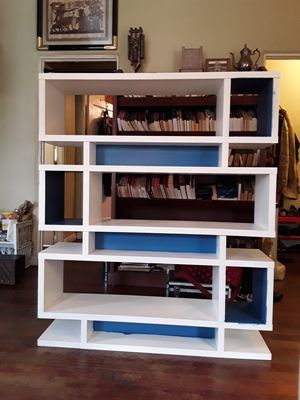 Unique Ikea bookshelf, white and blue for Sale in Los Angeles, CA