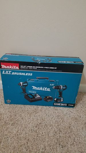 Makita 18-Volt LXT Lithium-Ion Brushless Cordless Hammer Drill and Impact Driver Combo Kit (2-Tool) w/ (2) 4Ah Batteries, Case for Sale in Bakersfield, CA