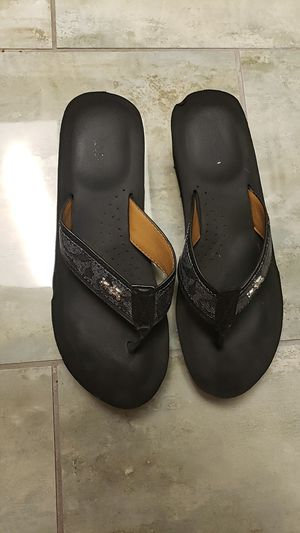 Coach black high in the heel genuine leather authentic slip-on sandals for Sale in Scottsdale, AZ