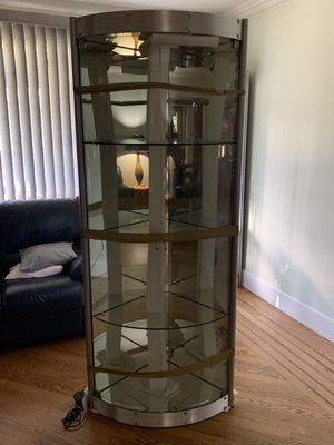 Mirrored glass corner curio cabinet for Sale in Portland, OR