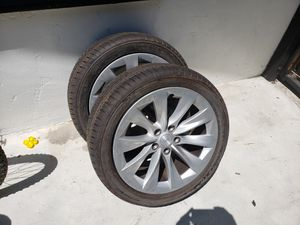 """set of 4 TESLA MODEL S WHEELS RIMS AND TIRES 19"""" .... IN GREAT CONDITION only $950 for Sale in Fullerton, CA"""