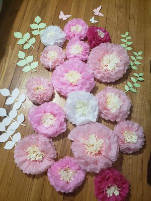 15 Tissue Paper Chrysanth Flowers with Butterfly and Olive Leaves for Sale in Montville, CT