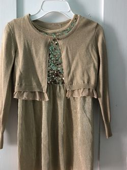 ✨Gold Dress With Cardigan (Size 7/8)✨ for Sale in Upland,  CA