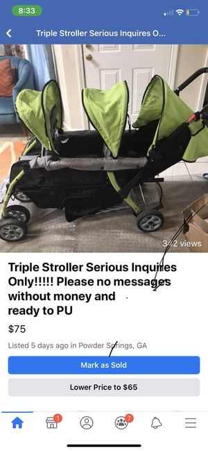 Triple stroller for Sale in Powder Springs, GA