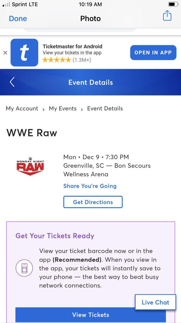 WWE RAW. tickets