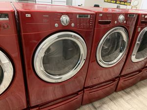 LG red frontload washer dryer set gas dryer for Sale in Phoenix, AZ