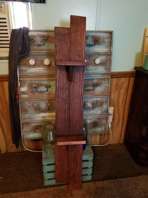Stained hand made wood hanging shelf for Sale in Laurel, MS