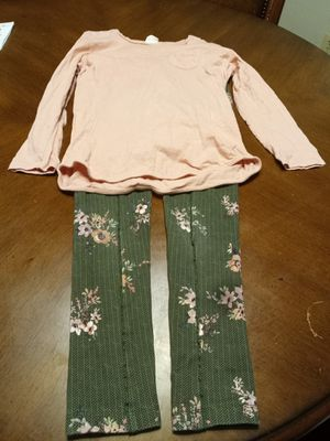 Zara girls outfit sz 9-10 green floral strech pants pink top for Sale in Washington, DC