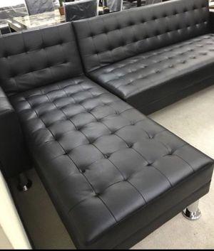 Black Adjustable Sofa/Reversible Chaise Futon for Sale in Houston, TX