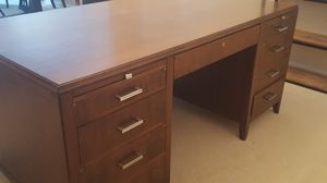 BEAUTIFUL hand made solid wood desk and 3 leather chairs for Sale in Chester Springs, PA