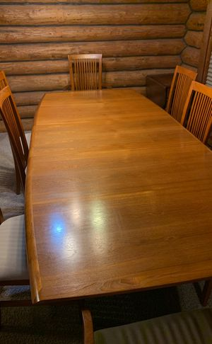 Vintage Teak Dining Table and 8 Chairs 2 leaves for Sale in Manson, WA