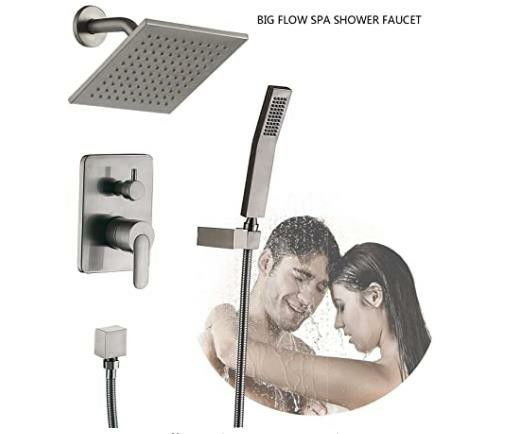 Shower Faucet System Amazing Rain Shower Head ALL METAL with Rough in Valve Shower Fixtures Set (without spout Nickel Brushed)
