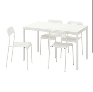 5 piece Dining table set White table and 4 chairs kitchen furniture for Sale in Haverhill, FL