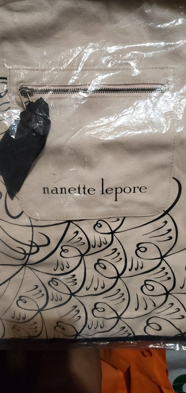 "NEW NANETTE LEPORE CANVAS TOTE /BAG 15"" x 27"" INCHES."