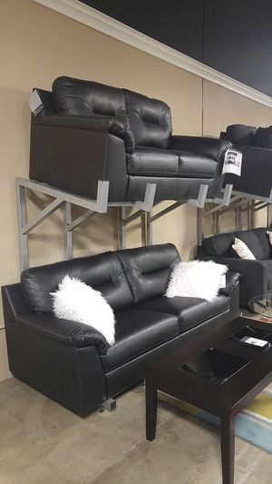 New black leather couch sofa and loveseat set for Sale in Portland, OR