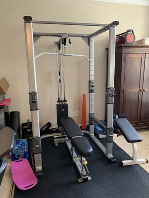 Tuff Stuff Squat Rack w/ Lat Pull, Low Row, Pull Up Bar, 200 Lb Stack. 400lb of Weights. Home Gym. for Sale in Oviedo, FL