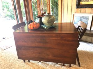 Vintage Antique Midcentury Modern Willett Furniture Solid Cherry Wood Dining Table with Leaf & 6 Dining Chairs for Sale in Portola Hills, CA