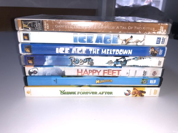 Kids Dvd Movies Family Ice Age Shrek Happy Feet Robots Garfield Madagascar Movie Lot