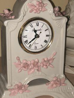 Capodimonte Porcelin Clock- White & Pink for Sale in Morgantown,  WV