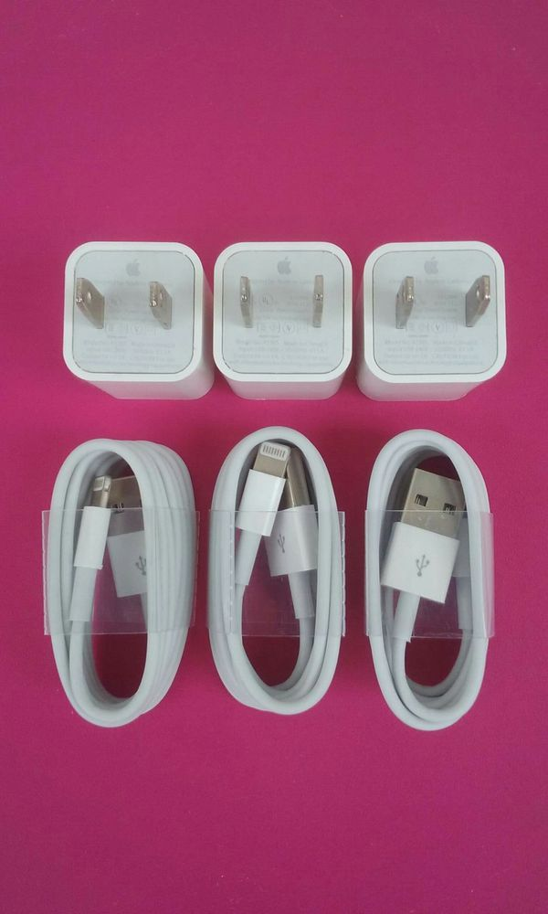 3 Brand New Original Apple IPhone Chargers
