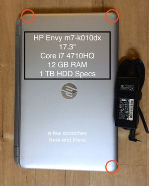 HP Envy LAPTOP - 1 TB HDD - 17.3 INCH - Core i7 - 12GB Ram - 64 bit + Charger for Sale in Glendale, CA