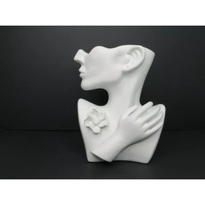 10 inch White Ceramic Half Round Face With Hand & Flower Pin Vase & Earring Hole for Sale in Glendale, CA