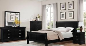 The Mayville Collection takes on classic Louis Phillipe styling -- upgrade your bedroom with this 4- piece Queen Bedroom set for only $699 Mattress s for Sale in Chino, CA