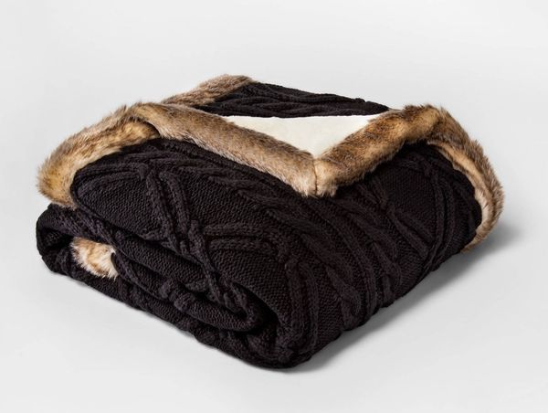 Knit Throw Blanket with Mink Faux Fur Black color