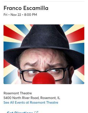 2 tickets for Franco Escamilla for Sale in Chicago, IL