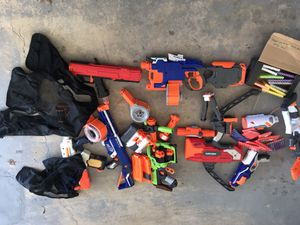 Nerf Guns different sizes and models with bullets, vest and extra magazines... for Sale in Ashburn, VA