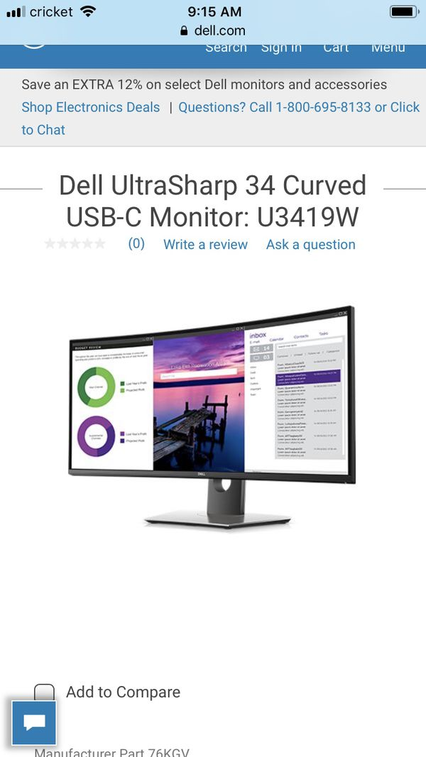 Dell 34in 4k curve monitor