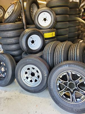 NEW TRAILER TIRES AND WHEELS (CAMPER , BOAT, PONTOON, MOBILE HOME AND MORE TIRES AND WHEELS STARTING $60+ TAX AND UP for Sale in Douglasville, GA