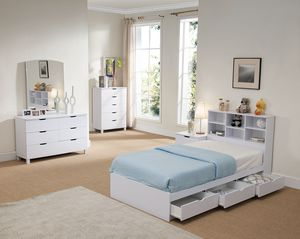 Twin Size 3-Drawer Storage Bed Frame with Bookcase Headboard, White for Sale in Garden Grove, CA