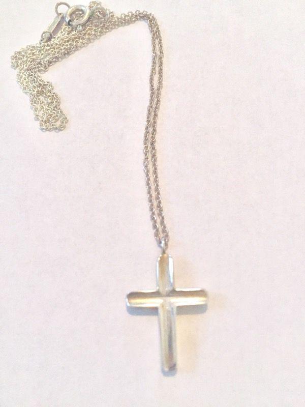 Tiffany & Co Silver Concave Cross Pendant