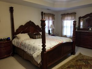 Solid mohagani wood king bedroom set with dresser and mirror and TV armoire for Sale in Durham, NC