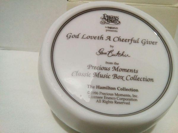"VTG Precious Moments Music Box Plays ""God Loveth a Cheerful Giver"""