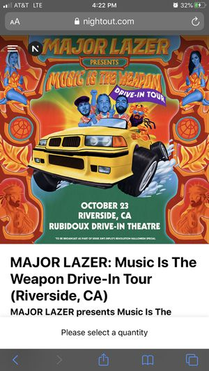 Major Lazer section A for Sale in Corona, CA
