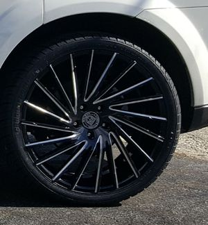"22"" Wraith Lexani Wheels Blk Machined Tip w/ Tires for Sale in Philadelphia, PA"