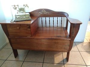 Antique oak Gossip Bench / Telephone Table Chair Desk Top / Phone Seat for Sale in Ontario, CA