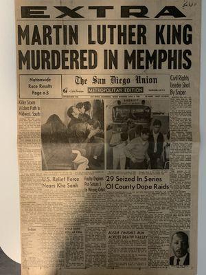 Authentic MLK Newspaper headline for Sale in Roseville, CA