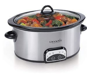 Crock-Pot 6-Quart Countdown Programmable Oval Slow Cooker with Little Dipper - Stainless Steel for Sale in Bakersfield, CA