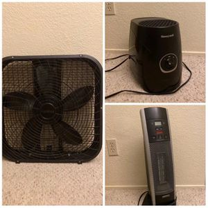 Honeywell humidifier, Holmes box fan and bionaire room heater for Sale in San Jose, CA