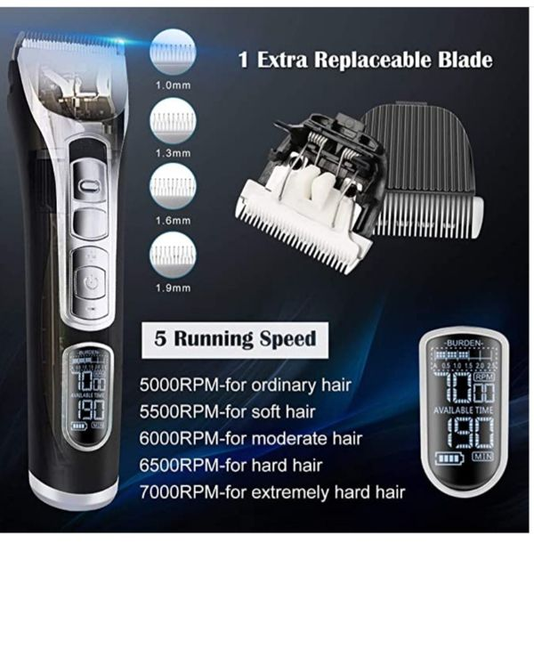 Professional Hair Clippers for Men, 5-Speed Ultra Quiet Rechargeable Cordless Hair Trimmer with Extra Waterproof Ceramic Blade, Non-Stick
