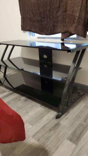 Black glass entertainment center tv stand for Sale in Avondale, AZ