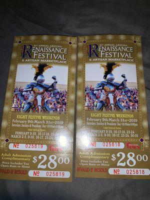 Renaissance festival tickets for Sale in San Carlos, AZ