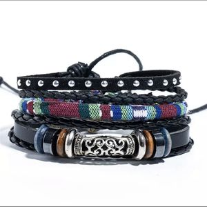 Metal Men's Leather Bracelets, Classic Retro Plant Charm Bracelet Bangles Homme Man Jewellry for Sale in Danbury, CT