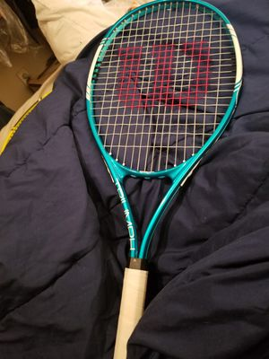 Wilson Triumph Tennis Racket with blue head & pristine white handle. for Sale in Seattle, WA